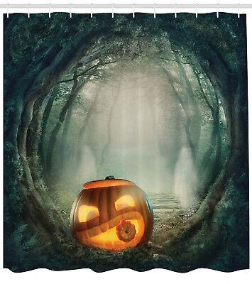 Halloween Decor Shower Curtain Scary Pumpkin Print for Bathroom 70 Inches Long - Halloween Decorations For Bathroom
