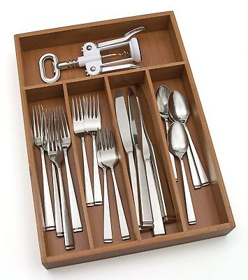 Flatware Storage Tray Bamboo Silverware Organizer Kitchen Drawer 5 Compartments