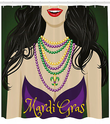 Mardi Gras Attire For Party (Mardi Gras Shower Curtain Woman in Party Dress Print for Bathroom 84