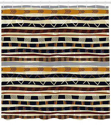 Tribal Shower Curtain Ethnic African Trippy Print for Bathro