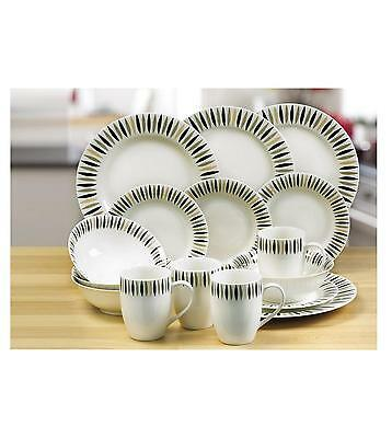 32 Pc Piece Black White Green Porcelain Dinner Set Service Tea Crockery