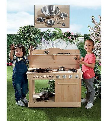 Wooden Mud Kitchen Kids Outdoor Toy Role Play Steel Accessories Set NEW