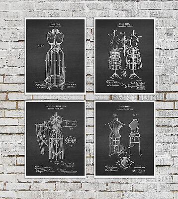 Fashion Dress Form Art Prints set of 4 Unframed Fashion Designer Gift Ideas Designer Dress Form Set