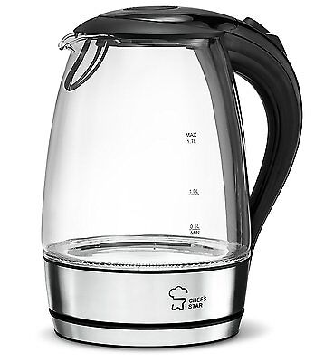 Electric Kettle Cordless Glass Boiler Tea Coffee Hot Water Warm Pot 1.7 Liter