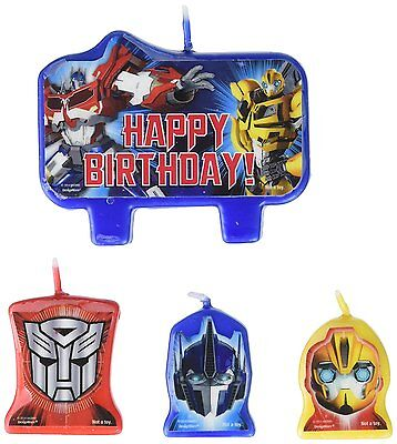 Transformers CANDLE SET 4pcs ~ Happy Birthday Party Supplies Cake - Happy Birthday Transformers