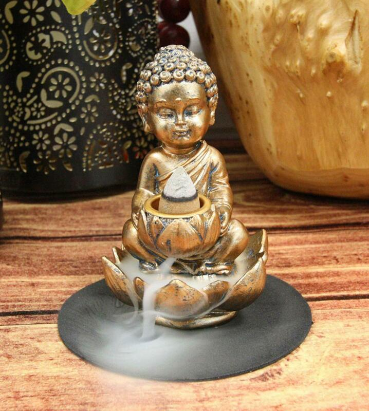 "Ebros Little Baby Jizo Buddha Backflow Incense Cone Burner Holder Statue 4.25""H"