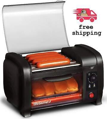 Elite Cuisine Hot Dog Roller And Oven Toaster 12-12 X 7-12 W Timer Black