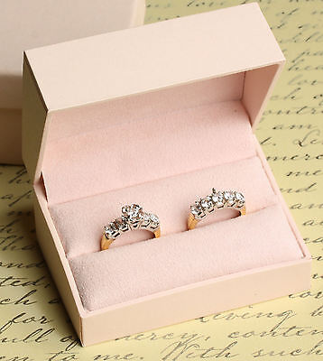 NWT Double Engagement Wedding Ring Band Presentation Gift Box, Pale Baby Pink