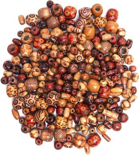 Nice Macrame Bulk Assorted Natural Boho Wooden Tribal 8-16mm Beads 500 Count