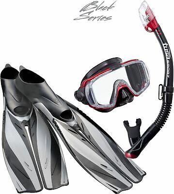 TUSA Pro Quality Deluxe Divers Snorkel Set - Stylish Quality MASK FINS SNORKEL Deluxe Pro Mask