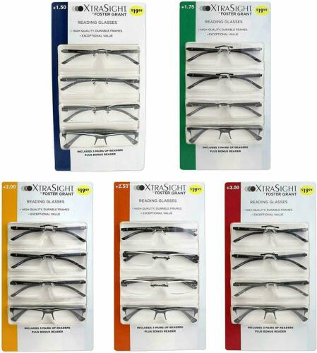 Foster Grant XtraSight 4 Pack Rick Reading Glasses High-Quality Durable Frames