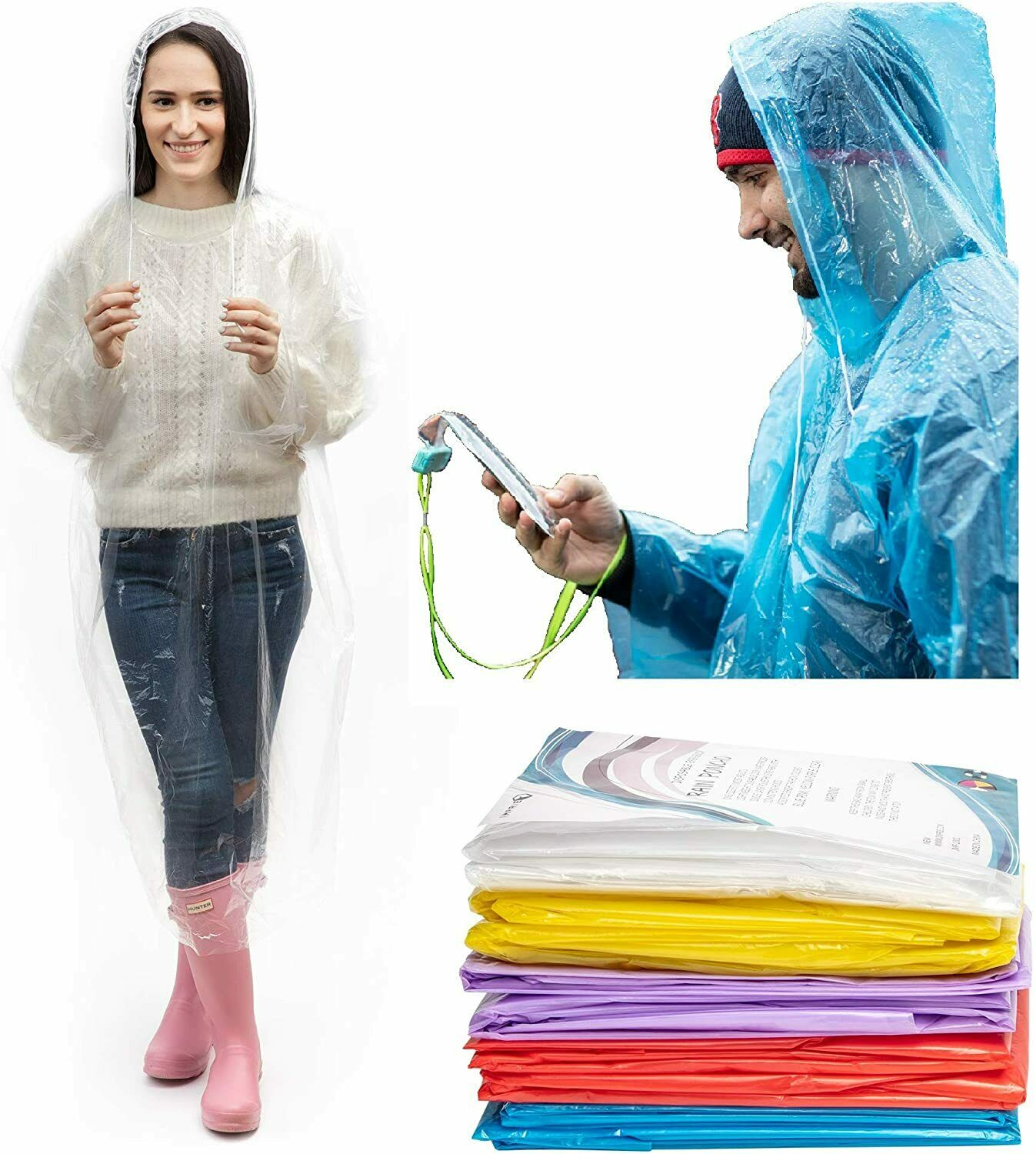 Emergency Hooded Poncho Rain Coat Disposable Protection Gown  Waterproof wear Clothing, Shoes & Accessories
