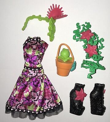 Monster High Party Ghouls Venus McFlytrap Fashion Doll Outfit Dress & Shoes NEW