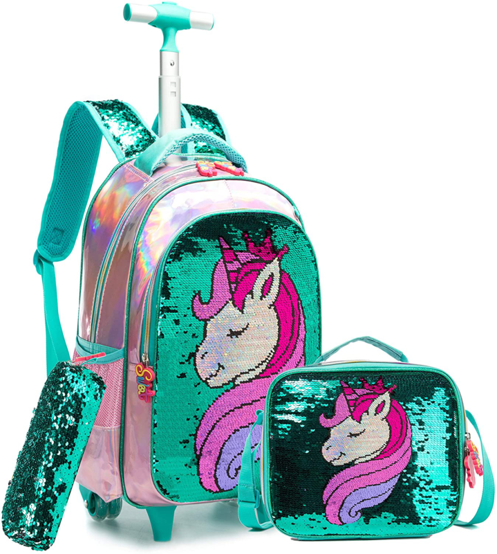 backpack wheeled rolling with lunch bag pencil