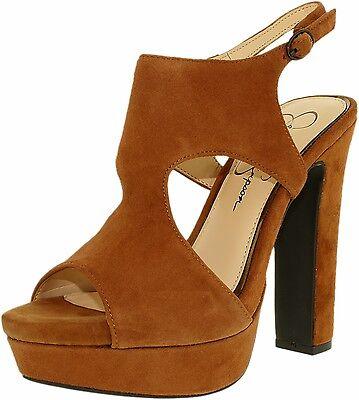 Jessica Simpson Barrow Autumn Brown Kid Suede Open Platform Pump Sandals 8 M New Brown Kid Suede Pumps