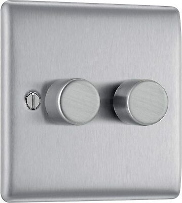 SMJ 2-Way Dimmer Switch 400W 2 Gang Brushed Steel