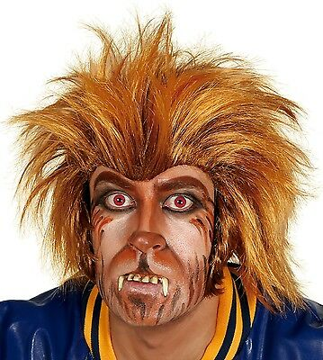 Adult Mens Crazy Werewolf Halloween Wolf Orange Fancy Dress Costume Outfit Wig](Crazy Halloween Outfits)