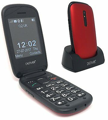 "Big Button Mobile Flip Phone GSP-130 Red Seniors Unlocked 2.4"" Screen SOS Button"