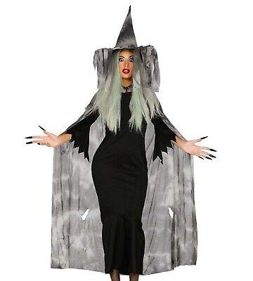 Damen Grau Gruselig Hexe Halloween Welttag des Buches Maskenkostüm Umhang & Hut