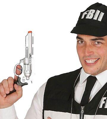 Spielzeug Silber Fbi Gangster Pistole Polizist Polizei Kostüm Waffe - Silber Gangster Kostüm