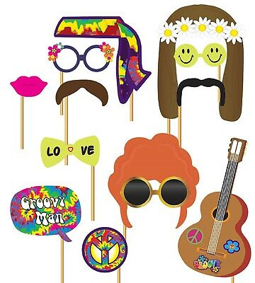 1970s Hippie Hippy Party Photo Booth Selfie Fun Props Fancy Dress Accessory Kit](Hippie Photo Booth)