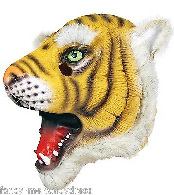 Mens Ladies Tiger Rubber Face Mask Animal Halloween Fancy Dress Costume Outfit - Tiger Face Halloween Costume