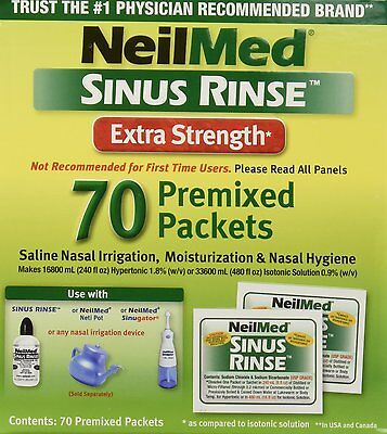 NeilMed Sinus Rinse Hypertonic Extra Strength Soothing Saline - 70 Packets