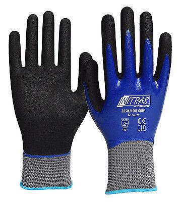2 Paar Oil Grip Handschuhe Nitril wasserabweisend perfekt. Ölgriff Gr.9+10+11
