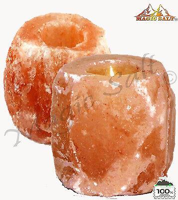 2 X HIMALAYAN CRYSTAL ROCK SALT CANDLE TEA LIGHT HOLDER