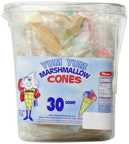 Marpo Marshmallow Cones 30 Count Tub Nostalgic Candy