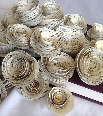 Book page roses. Set of 30 paper roses. Wedding flowers. Centerpieces. Paper flo