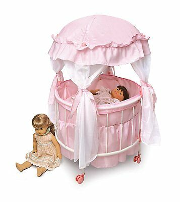 Royal Pavilion Round Doll Crib with Canopy & Bedding (fits American Girl Dolls).
