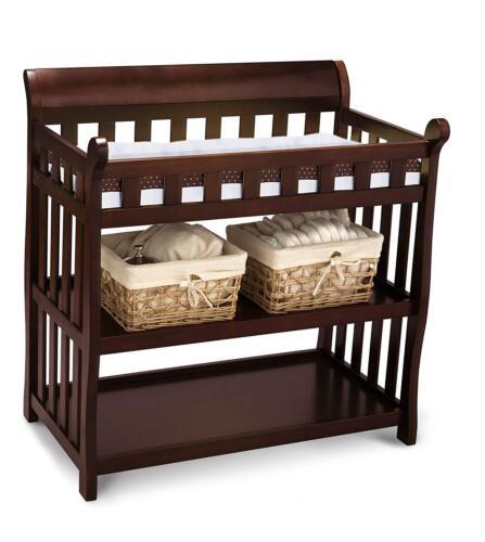 Changing Table Baby Staton Nursery Newborn Room Furniture Storage Basket Cherry