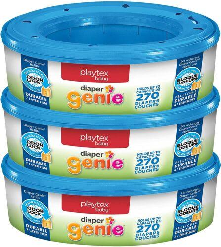 3x Playtex Diaper Genie Refill Disposal System Odor Lock Protection 270 ct each