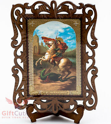 (Wooden Icon of Saint George and the Dragon Икона Святой Георгий Победоносец)
