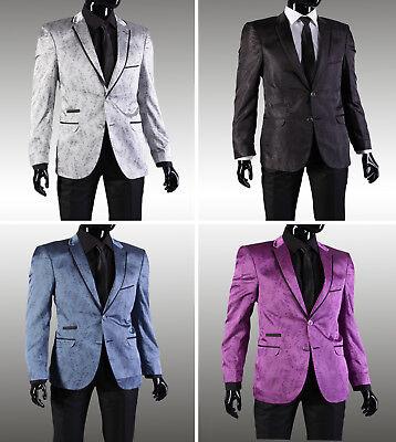 Slim Fit Herren Sakko mit Blumenmuster in Silber•Schwarz•Lila•Blau - Lila Anzug