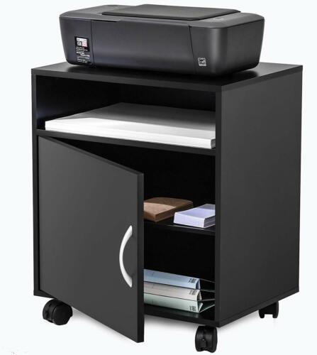 Rolling Printer Stand With Adjustable Storage Black Wood Work Cart On Wheels
