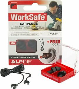 ALPINE Worksafe Ohrstöpsel Lärmstöpsel Gehörschutz- Box inkl. Gordel