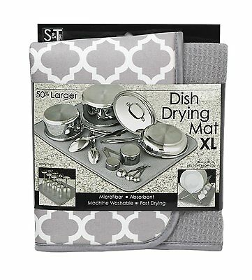 "S&T Extra Large Microfiber Dish Drying Mat 18""x24"" – White Trellis"