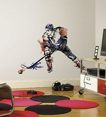 """HOCKEY PLAYER Giant WALL STICKERS NEW MURAL Decals 42"""" Men"""
