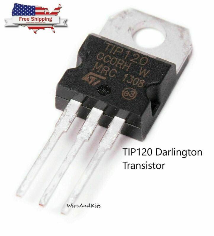 5pcs - TIP120 NPN Darlington Transistor TO-220 60V 5A for Ardunio, Raspberry Pi
