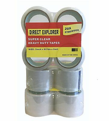6 pack Clear Packing Tape 3 Inch Wide 2 mil Thick 55 Yards Refill Roll Pack