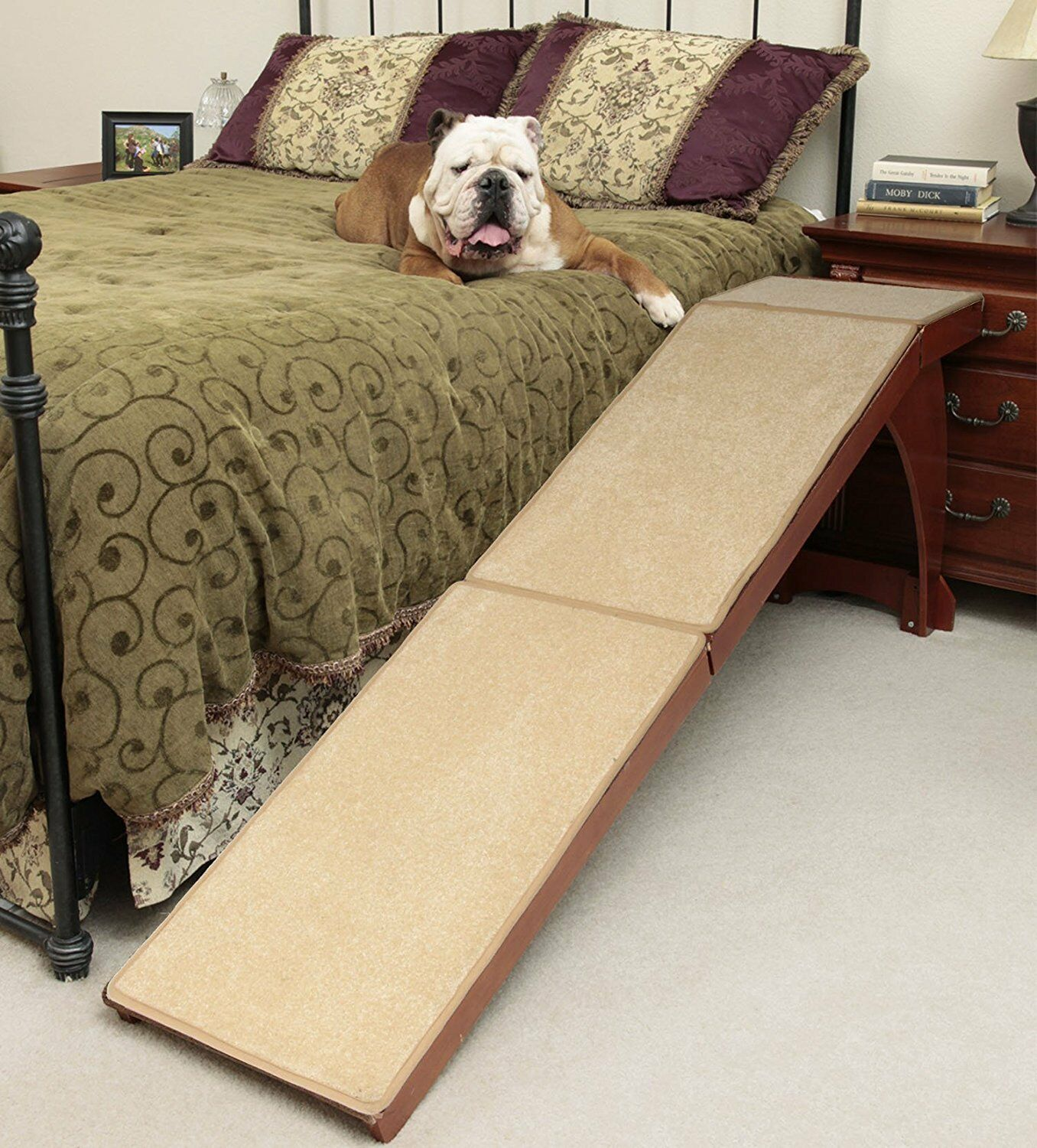 Pet Dog Ramp Stairs For High Beds Bedside Doggy Wood Carpet