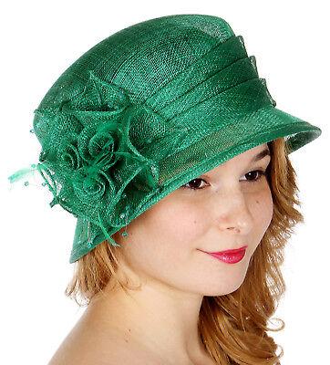 Navy Derby Hat (Derby Church Wedding Sinamay Hat N23, Kelly Green, Mint, Navy, Orange, Pink,)