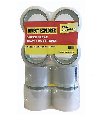 12 ROLLS OF 3 INCH CLEAR BOX PACKING SHIPPING TAPE x 165 FT EACH SUPER CLEAR