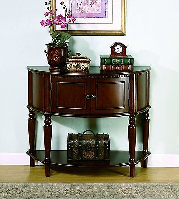 (Traditional Wood Console Accent Table/Entry Way/Hall/Storage/2 Shelves/Sturdy)