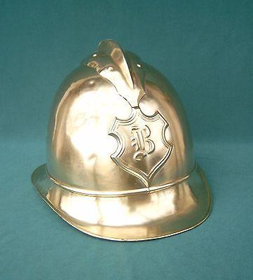 Antiker Feuerwehrhelm Messing, mit Wappen, um 1900, schöne Deko