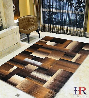 Chocolate Brown/Beige/Mocha/Black/Abstract Area Rug Modern Contemporary...