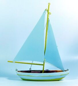 Small model yacht, sail boat with metal sails, nautical, 16cm, choice of colours