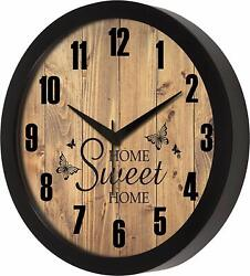 Home sweet Home Designer Round Wall Clock with Glass Home Kitchen Living Room